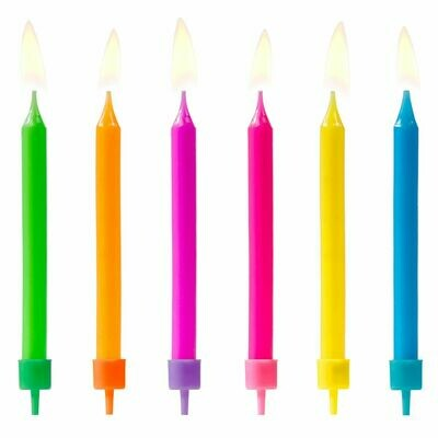 PartyDeco Birthday Candles -COLOURFUL MIX 6 τεμ.- Πολύχρωμα Κεράκια