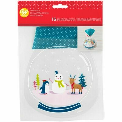 Wilton Christmas Treat Bags -SNOW GLOBE Pack of 15 - 15τεμ σακουλάκια για γλυκά με συρματάκια Χιονάνθρωπος