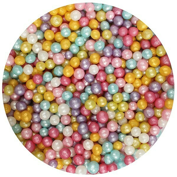 Purple Cupcakes Sugarballs -MULTI-COLOURED SHIMMER 4mm -Βρώσιμες Πέρλες Πολύχρωμες Γυαλιστερές 4χιλ,   80γρ