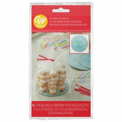 Wilton Christmas Mini Cookie & Plate Kit -Pack of 6 - 6 Σακουλάκια με πιατάκια για Χριστουγεννιάτικα Μπισκότα