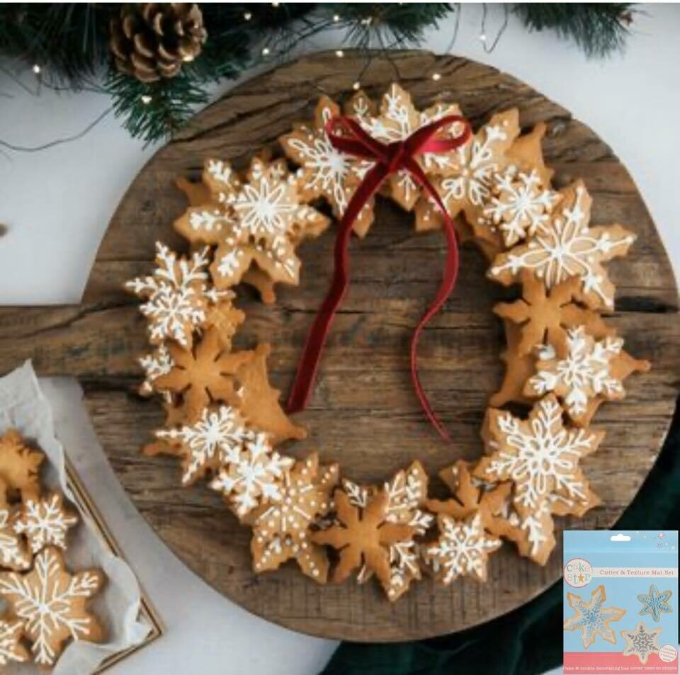 Cake Star Cutter & Texture Mat Set -SNOWFLAKES -Κουπ πατ Χιονονιφάδες -Σετ 7 Τεμαχίων