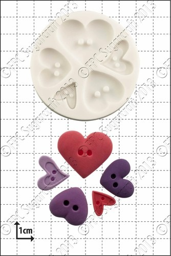 SALE!!! FPC -Silicone Mould -HEART BUTTONS -Καλούπι Σιλικόνης  Κουμπιά Καρδιές