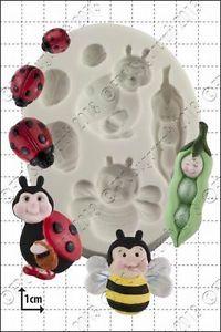 SALE!!! FPC -Silicone Mould -PEAPOD BABY & LADYBIRDS -Καλούπι Σιλικόνης Μωρό Μπιζελάκι & Πασχαλίτσες