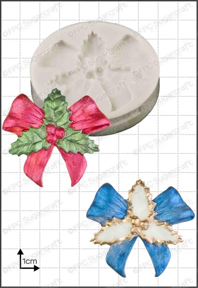 FPC Silicone Mould -HOLLY BOW -Καλούπι Γιορτινός Φιόγκος