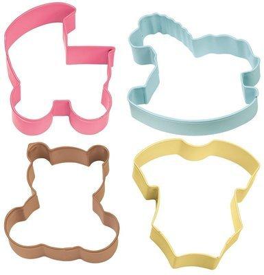 Wilton Cookie Cutter Set of 4 -BABY -PRAM, ROCKING HORSE, TEDDY, ONESIE - Σετ 4τεμ κουπ πατ Μωρό - Καρότσι, ζιπουνάκι, άλογο, αρκουδάκι 7.6εκ