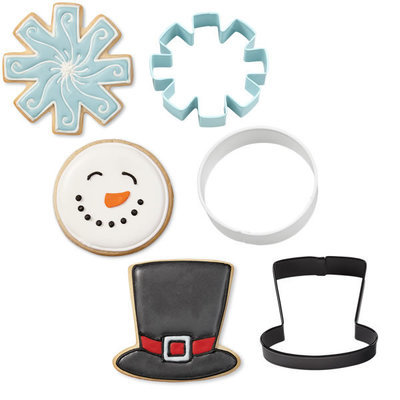 SALE!!! Wilton Christmas Cookie Cutter Set of 3 -SNOWMAN CUTTERS (HAT, SNOWFLAKE, ROUND FACE) -Σετ 3 τεμ κουπ πάτ καπέλο, χιονονιφάδα, στρογγυλό πρόσωπο 7.6εκ