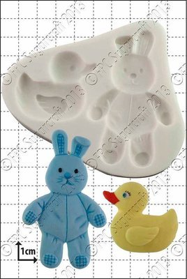 FPC Silicone Mould -DUCK & BUNNY -Καλούπι Παπάκι & Κουνελάκι