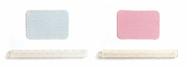 JEM Tools -2 Patterned Rolling Pins -FABRIC TEXTURE & FLORAL DRAPE - Σετ 2τεμ Ανάγλυφοι Πλάστες Ύφασμα & Λουλούδια