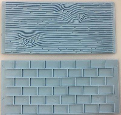 #Pan Decor - Impression Mats Set of 2 Wood/Tree Bark & Brick Wall - Σετ 2τεμ Ανάγλυφα Πατάκια Φλοιός Δέντρου & Τούβλινος Τοίχος - 10x8εκ