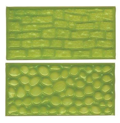 FMM Impression Mats -COBBLESTONE & STONE - Σετ 2τεμ Ανάγλυφο Πατάκι Πλακόστρωτο & Πέτρα