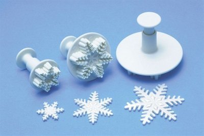 PME Plunger Cutters -Set of 3 -SNOWFLAKES -Σετ 3τεμ κουπ πατ με Εκβολέα Χιονονιφάδες