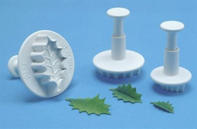SALE!!!  PME -Plunger Cutters -Set of 3 -HOLLY LEAF - Σετ 3τεμ Κουπ πατ με Εκβολέα Ανάγλυφο Φύλλο Γκι