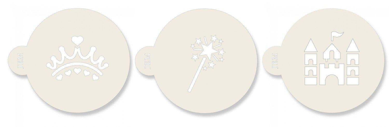 JEM Stencil -Set Of 3 PRINCESS designs -Crown, Wand, Castle - Σετ 3τεμ Στένσιλ - Στέμμα, Ραβδί, Κάστρο