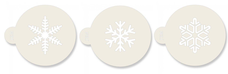 JEM Stencil -Set Of 3 Snowflake Designs - Σετ 3τεμ Στένσιλ Χιονονιφάδες