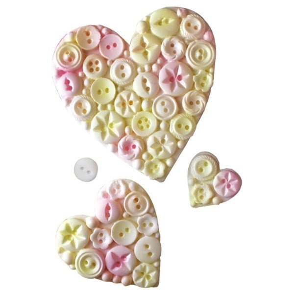SALE!!! Katy Sue Silicone Mould by Ceri Griffiths -BUTTON HEARTS -Καλούπι Σιλικόνης Κουμπάκια Μέσα σε Καρδούλα