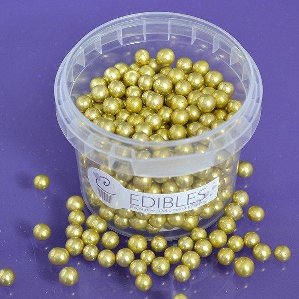Purple Cupcakes Sugarballs -GOLD 6mm -Βρώσιμες Πέρλες Χρυσές 6χιλ, 100g