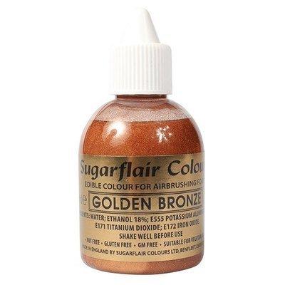 Sugarflair Airbrush Colour -METALLIC GOLDEN BRONZE -Χρώμα Αερογράφου Μεταλλικό Χρυσό Μπρονζέ 60ml