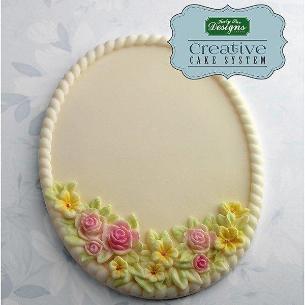 SALE!!! Katy Sue -Silicone Mould by Ceri Griffiths -PETITE FLEUR OVAL PLAQUE -Καλούπι Σιλικόνης Μικρή Οβάλ Πλάκα με Λουλούδια