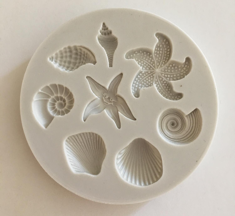#Mould - Shells & Starfish - Καλούπι Σιλικόνης Κοχύλια και Αστερίες - Περίπου 6εκ