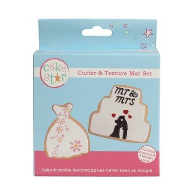 Cake Star Cutter & Texture Mat Set -WEDDING DRESS & CAKE -Κουπ πατ Νυφικό & Γαμήλια Τούρτα -Σετ 3 Τεμαχίων
