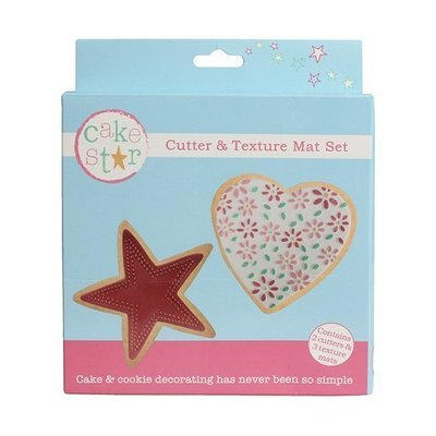 Cake Star Cutter & Texture Mat Set -HEART & STAR -Κουπ πατ Καρδιά & Αστέρι -Σετ 3 Τεμαχίων