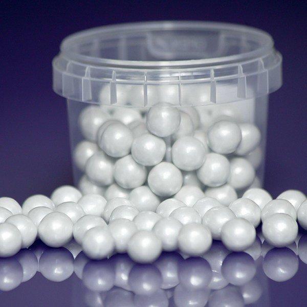 Purple Cupcakes Sugarballs -WHITE PEARL 10mm -Βρώσιμες Πέρλες Λευκές Περλέ 10χιλ, 80γρ