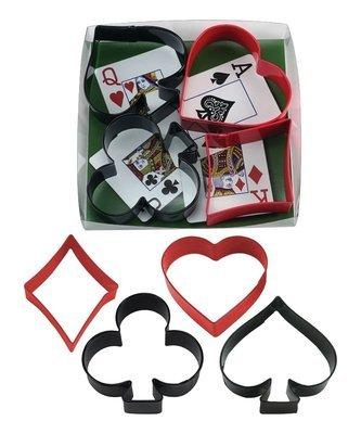 By AH -Set of 4 Cookie Cutters -CARD NIGHT - Σετ 4 κουπ πατ με  Σχέδια Τραπουλόχαρτας 13.5εκ