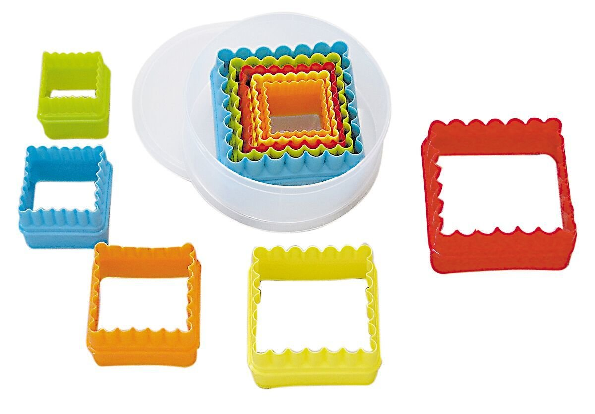 By AH -Set of Plastic Cookie Cutters -SQUARE - Plain & Fluted - Σετ 5 τεμ  πλαστικά τετράγωνα κουπ πατ - Ίσια και Κυματοειδή