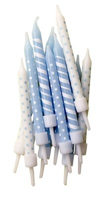 By AH -Candles -Set of 12 SPOT & STRIPE BLUE & WHITE -Κεράκια με Ρίγες & Βούλες Λευκά & Γαλάζια 12 τεμ