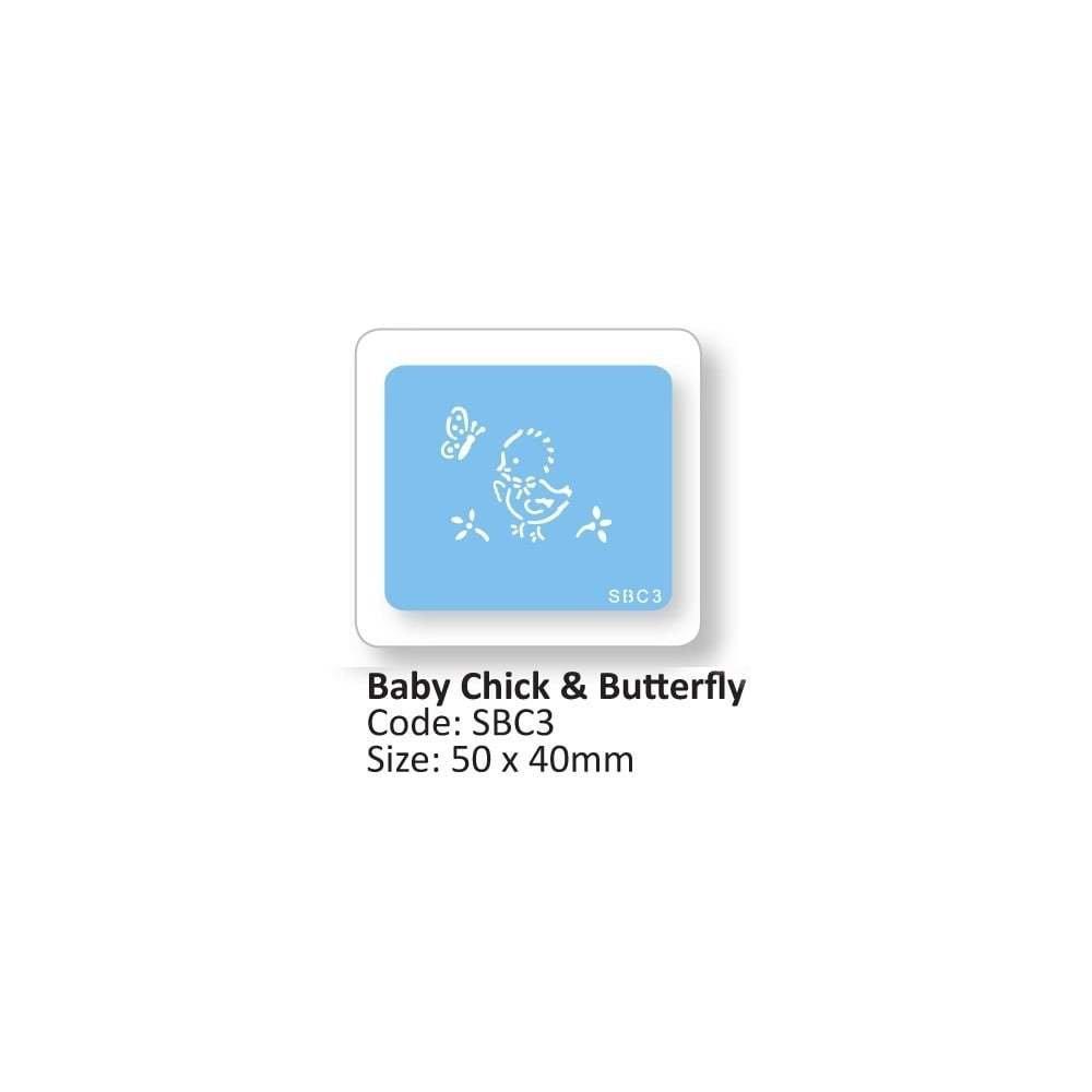 SALE!!! JEM Stencil -BABY CHICK & BUTTERFLY -Στένσιλ Μικρό Παπάκι με Πεταλούδα