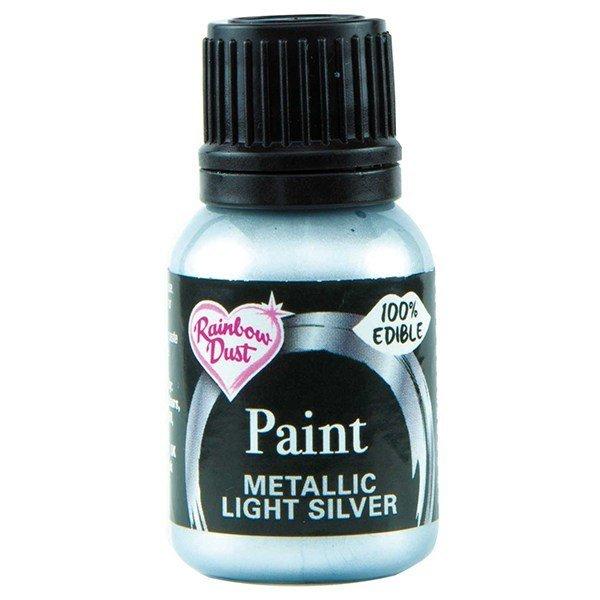 SALE!!!  Rainbow Dust -Edible Metallic Food Paints -LIGHT SILVER -Μεταλλικό Βρώσιμο Χρώμα Ζωγραφικής -Απαλό Ασημί 25ml-ΑΝΑΛΩΣΗ ΚΑΤΑ ΠΡΟΤΙΜΗΣΗ 09/2021