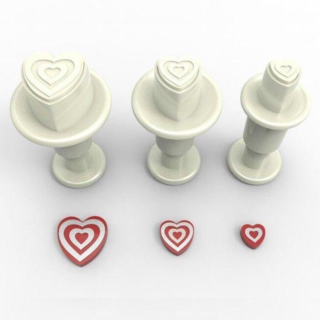 Dekofee Plunger Cutter -MINI STRIPED HEARTS - Σετ 3τεμ κουπ πατ με Εκβολέα Μίνι Ανάγλυφες Καρδούλες