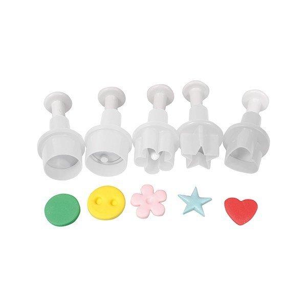 Cake Star Plunger Cutters -MINI GEOMETRIC SHAPES -Σετ 5τεμ κουπ πατ Μικρά Γεωμετρικά Σχέδια με Εκβολέα