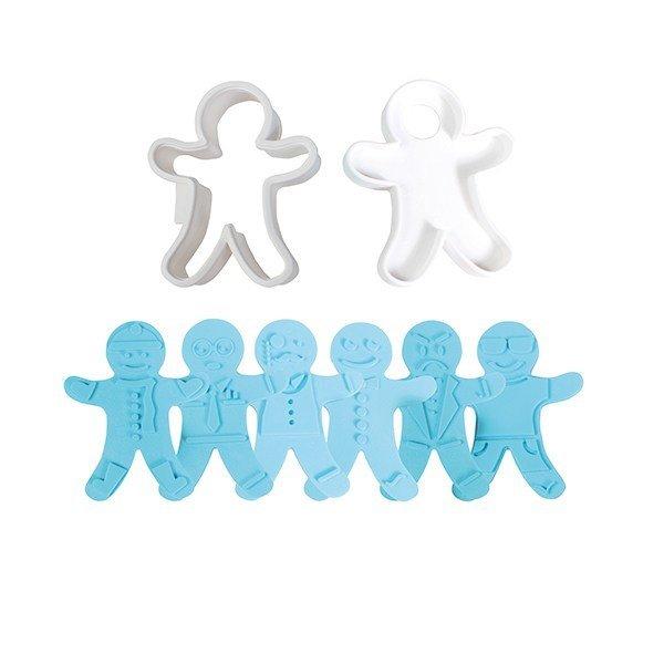 SALE!!! Cake Star - Gingerbread Man Cutter and 3 reversible embossers 5pcs - Σετ 5τεμ Κουπ πατ Μπισκοτένια Ανθρωπάκια με Διαφορετικές Εκφράσεις - 105x85χιλ