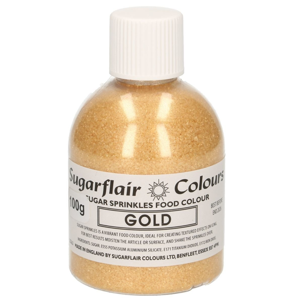 Sugarflair -Sparkling Sugar Sprinkles -GOLD 100g - Χρωματιστή Ζάχαρη - Χρυσή