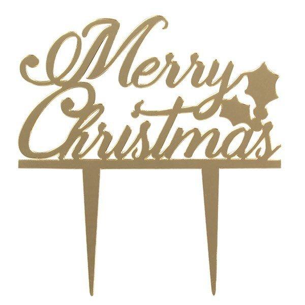 Cake Star Topper -GOLD 'Merry Christmas' -Τόπερ Τούρτας Χρυσό