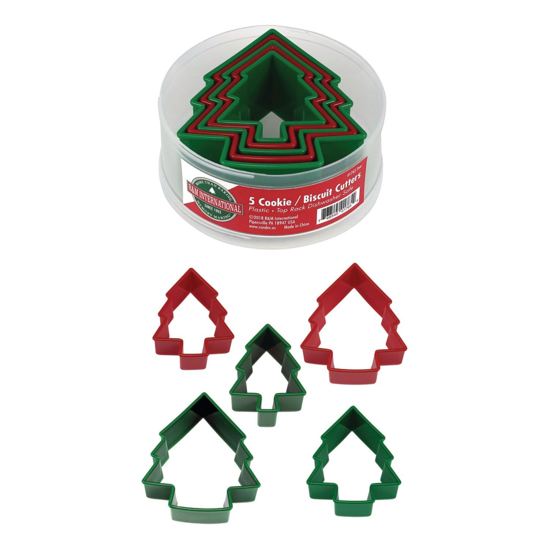 By AH -Set of Plastic Cookie Cutters -TREES -Σετ 5 τεμ πλαστικά κουπ πατ  Χριστουγεννιάτικα Δεντράκια