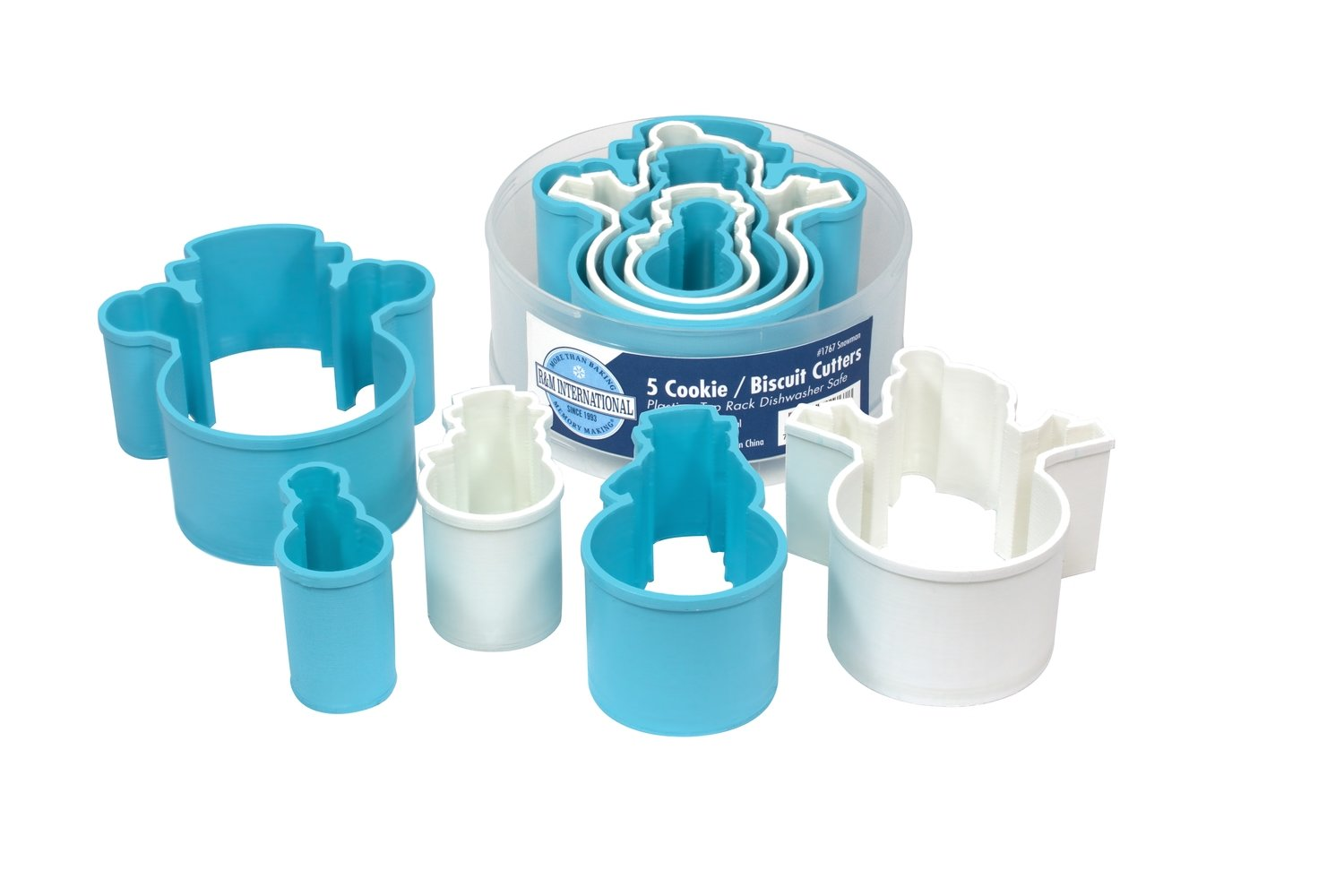 By AH -Set of Plastic Cookie Cutters -SNOWMEN - Σετ 5 τεμ πλαστικά κουπ πατ Χιονανθρωπάκια