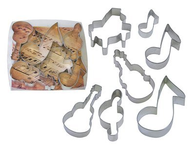 By AH -Set of 7 Cookie Cutters 'MUSIC' - Σετ 7 τεμ κουπ πατ με θέμα τη Μουσική 7εκ