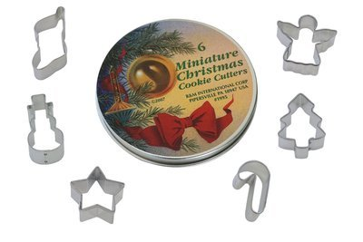By AH -Set of 6 TINNED Cookie Cutters 'MINI CHRISTMAS' - Σετ 6 τεμ μικρά κουπ πατ Χριστουγεννιάτικα 4εκ