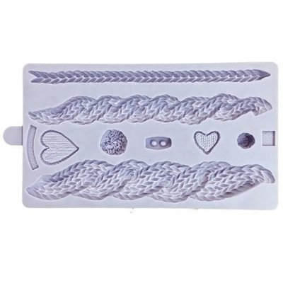 Karen Davies Silicone Mould -RUSTIC CABLE KNIT By ALICE -Καλούπι Σιλικόνης Πλέξη & Κουμπάκια