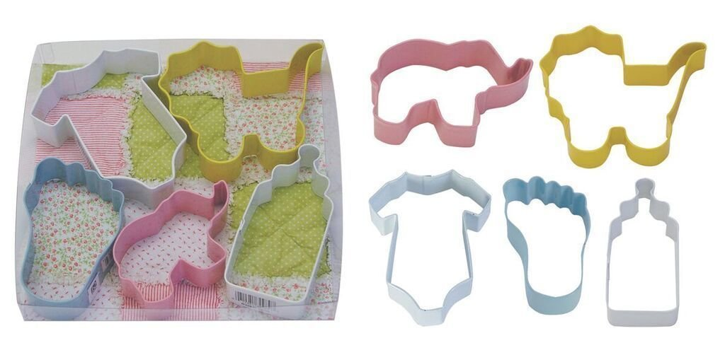 By AH -Set of 5 Cookie Cutters -BABY MIX - Σετ 5 τεμ κουπ πατ Μωρουδίστικα