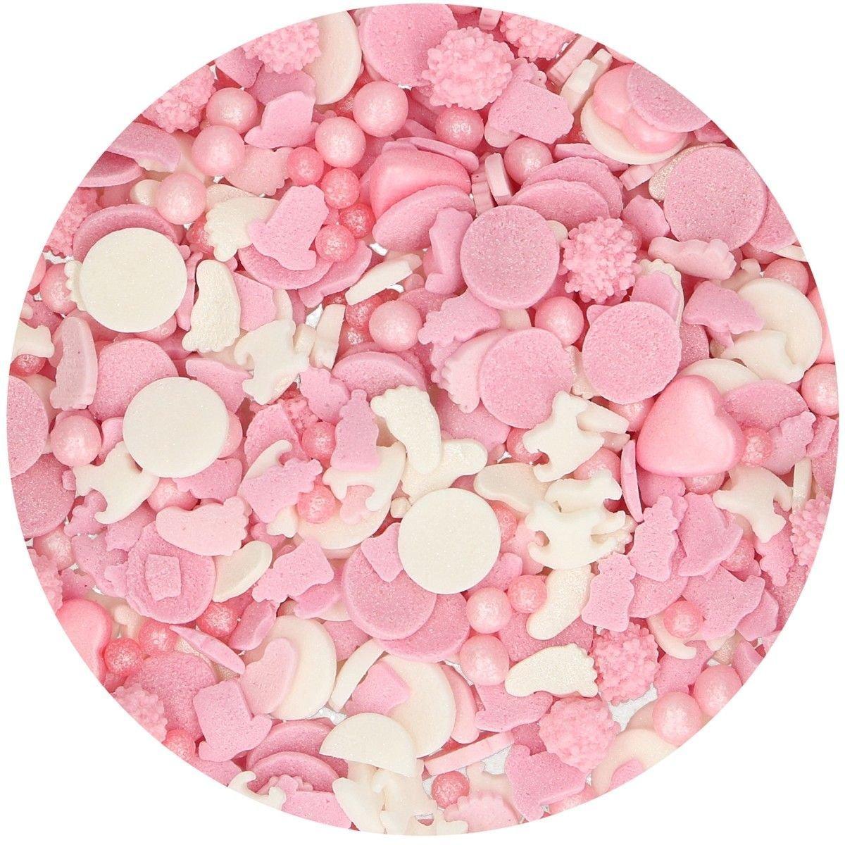 FunCakes Sprinkle Mix 180γρ -BABY GIRL MEDLEY - Ποτ Πουρί Ζαχαρωτών - Μωράκι Κορίτσι - Ροζ & Λευκό