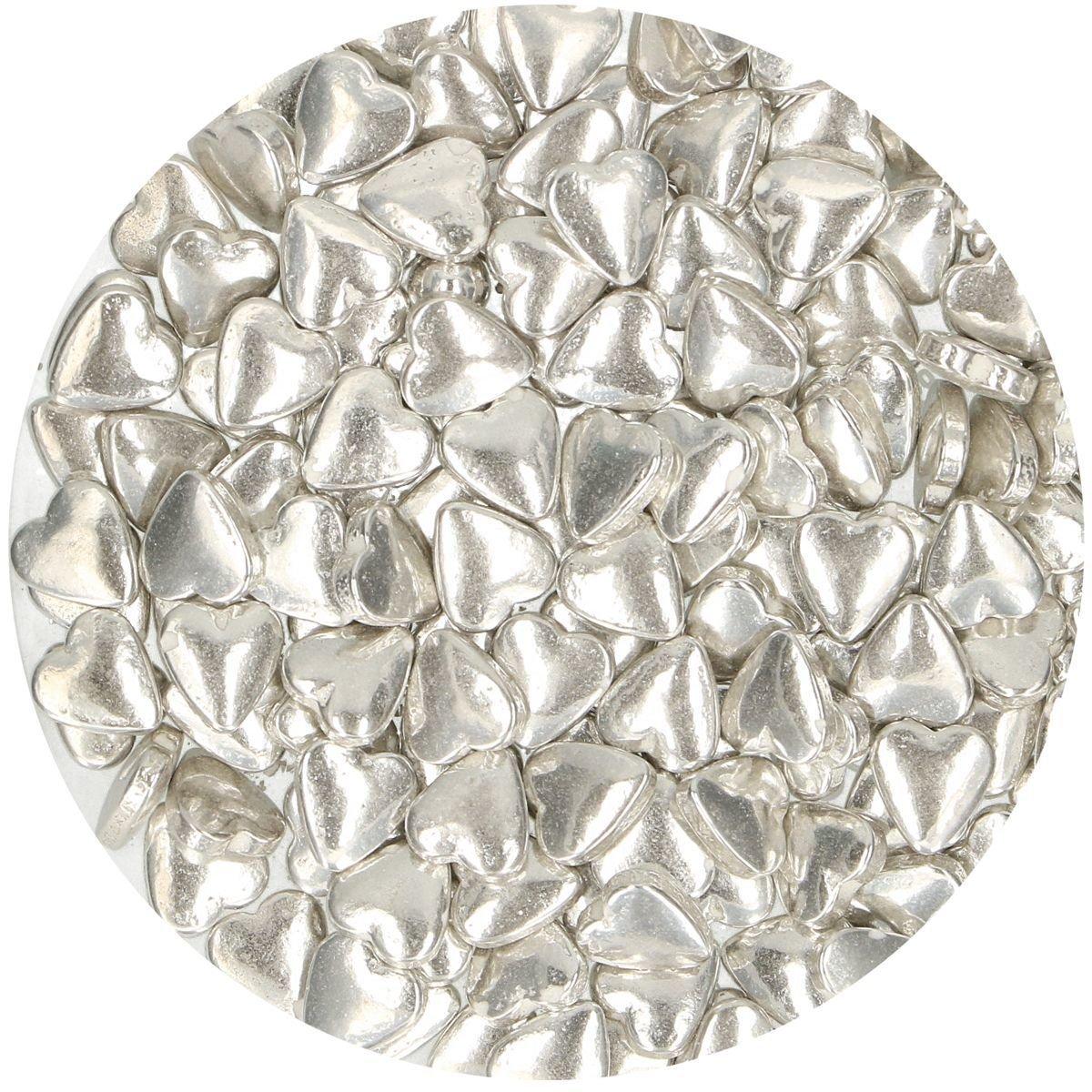 FunCakes Sprinkles -HEARTS -METALLIC SILVER - Ζαχαρωτά Ασημένιες Μεταλλικές Καρδιές 80γρ