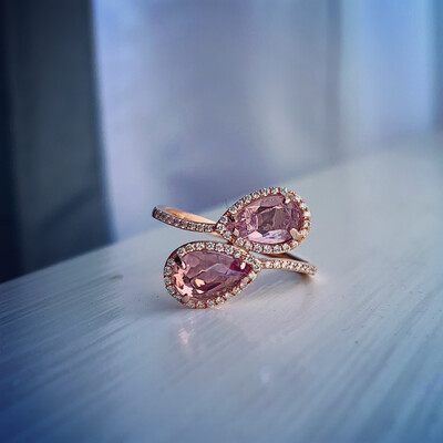 Myra Ring, Double Pear Amethyst And Diamonds