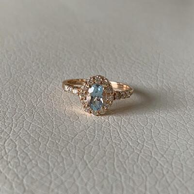 14K Rose Gold Aquamarine And Diamond Ring