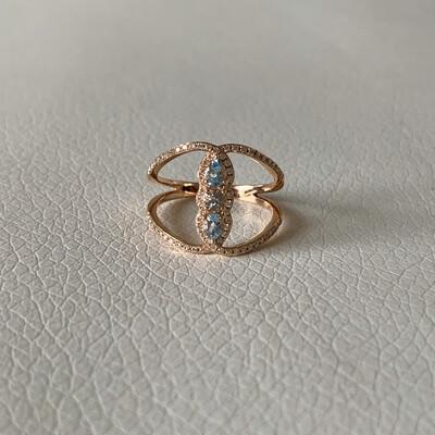 Aquamarine And Diamond Ring In Rose