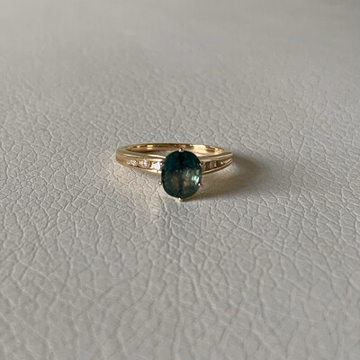 14K Yellow Gold with Green Sapphire And Diamond Ring