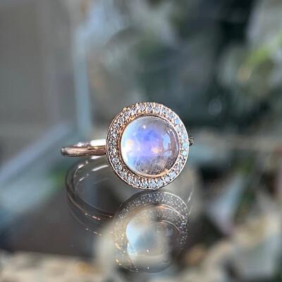 Moonstone & Diamond Halo Ring In Rose Gold