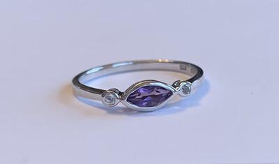Evil Eye Amethyst Stackable Ring